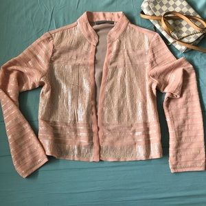 Chiffon Sequin Coral Jacket